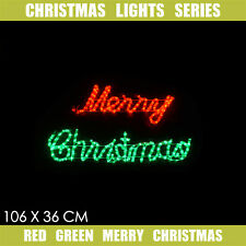 Christmas Light LED Vintage Red Green Merry Christmas LED Motif Sign 106x36cm