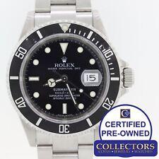 Rolex Submariner Date 16610 T No Holes Steel SEL Pre-Ceramic Black Watch N8