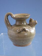 Antiques China Jin Dynasty(265-420) Green Glazed Cockscomb-shaped Pot