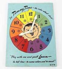 Vintage 70's Wood Toy SIFO Timmy Time Clock Puzzle Color Wheel Antique Game