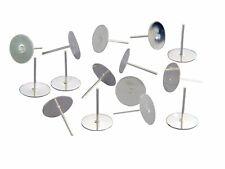 40 CLOUS SUPPORT BOUCLES D OREILLES PLATEAU FIMO ARGENTE CLAIR 10mm AVEC EMBOUTS