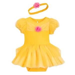Disney Princess Baby Girls Costume Bodysuit Dress /& Headband Set