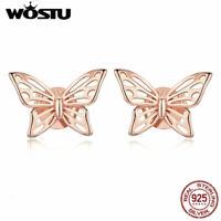 925 Sterling Silver Stud Earrings Butterfly Element  Women Jewelry Rose Gold Ear