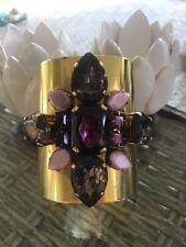 Vintage Erikson Beamon Cuff Bracelet Gold Ptd, Purple Crystal