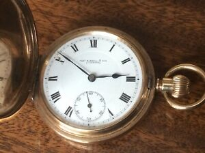 ANTIQUE GOLD PLATED FULL HUNTER POCKET WATCH.THOS RUSSELL & SONS.LIVERPOOL.