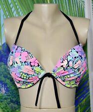 VICTORIA'S SECRET Black Gold Multicolor Floral Bikini Swim UW Halter Top 34DD