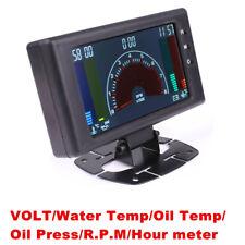 New 6in1 LCD Car Voltmeter Water Temp Oil Temp Oil Press Gauge w/Sensor Bracket