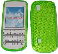 Para Nokia Asha 300/3000 patrón Gel GEL Funda protectora Pouch verde nuevo