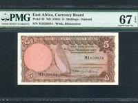 East Africa:P-45,5 Shillings,1964 * Sailboat * PMG S. Gem UNC 67 EPQ *