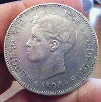 Spain 5 Pesetas, 1898 .900 Silver like 8 Reales Alfonso XIII