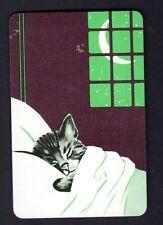 Vintage Swap/Playing Card - Gorgeous Sleeping Kitten (LINEN)
