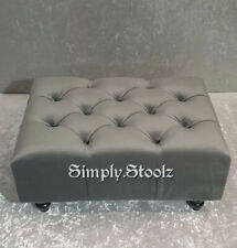 Grey Chesterfield Ottoman Footstool,Pouffe seating  Foot rest soft Plush velvet