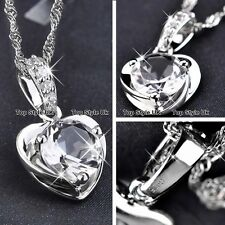Heart Diamond Silver 925 Necklace Pendant Chain Christmas Gifts for Women TU1
