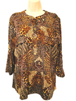 Notations Women's Blouse XL 3/4 Sleeve Animal Print Pullover Top