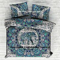 Indian Elephant Mandala Double Duvet Quilt Cover Bedding Ethnic Boho Blanket Set