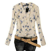 Women's Fashion Elegant Bird Print Blouse Long Sleeve Casual Slim Shirts Hoc