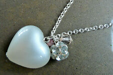 White Puffed Heart & Bead Detail_New Very Long Silver Necklace – Large Shimmery