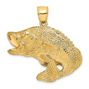 14k Yellow Gold 2-D Bass Fish Jumping Charm for Women 10.6g