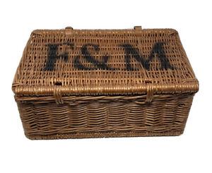 Fortnum and Mason basket hamper picnic wicker F&M   Leather straps   Handle