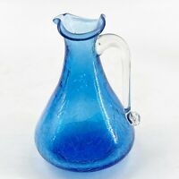 Vintage Hand Blown Blue Crackle Glass Pitcher Ewer Creamer Mid Century Art Glass