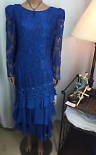 Sylvia Ann Royal Blue Dress With Floral Lace Womens Size 12 New Old Stock