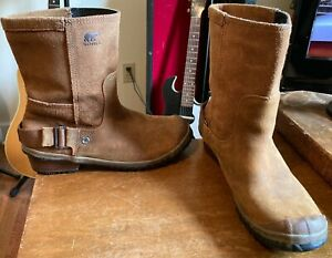 "SOREL WOMENS BROWN LEATHER SHORT BOOTS-SIZE 8-ADJUSTABLE STRAP-GREAT SHAPE-9"" TA"