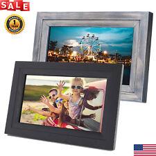 "10.1"" HD WiFi Digital Photo Frame Alarm Clock Video/Music Player 16:9 Touch 8GB"