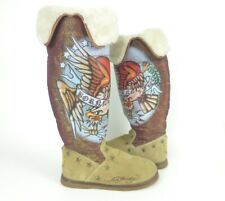 ED HARDY Boots Women's 7 Tall Knee Boot Suede Fur Tan Born Free Lined Winter