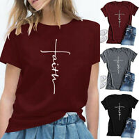 Plus Size Women's Fashion Tops Cross Faith T Shirt Graphic Tees Christian Shirts