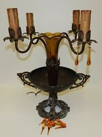 Antique Cast Metal 4-Candle Epergne Lamp Glass Vase Centerpiece Bowl Gothic Deco
