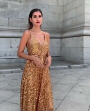 Zara Gold Long Sequin Limited Edition Dress Size M