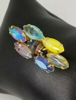 Ladies Vintage 7 Multi colored Crystal and Cabochon mix Diamond shaped Brooch