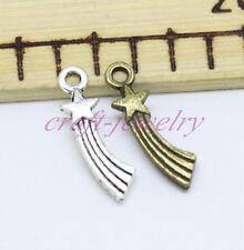 Tibetan silver charm pendant shooting star fit necklace Key chain 15/50/300pcs