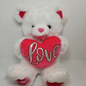 "DAN DEE Sweetheart Teddy Bear 2020 Plush Stuffed Toy Animal White 18"" LOVE"