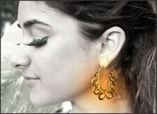 Tribal Earring Brass Spiral Silver 92.5 Hook Vintage Women Exotic Gold Gypsy
