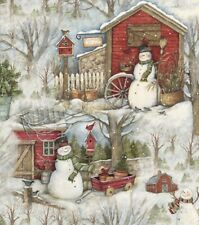 Christmas Fabric - Susan Winget Holiday Barn Snowman Scenic - Springs YARD