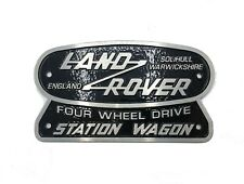 """Land Rover Station Wagon"" 4WD Oval Grille Badge (Cast Aluminum) Series Defender"