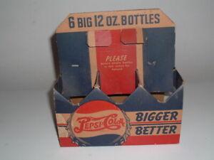 Vintage Pepsi Cola cardboard double dot six bottle carrier