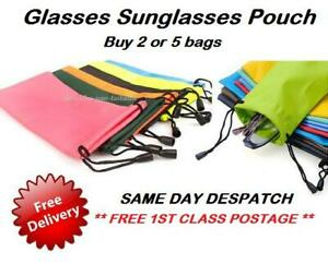 Glasses Sunglasses Pouch Phones Spectacles Wallet Drawstring Soft Case 2X or 5X