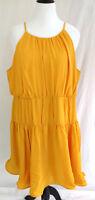 Lane Bryant Dress Womens Plus Size 24 Mustard Yellow Chiffon A Line Flare Ruffle