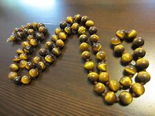 "ANTIQUE CHINESE? CARVED TIGER's EYE BEADED KNOTTED NECKLACE SILVER CLASP 33""-B"