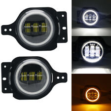 "Halo Amber Angel Eyes LED 4"" Inch Fog Light Lamp For 2018 2019 Jeep Wrangler JL"