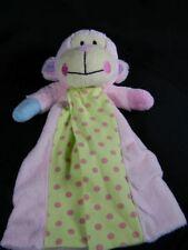 Baby Essentials Monkey Pink Blanket Green Polka Dot Security Lovey