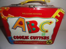 WILLIAMS SONOMA ABC COOKIE CUTTER SET IN METAL LUNCH BOX-BRAND NEW