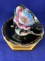 Vntg Royal Sealy China Gold Gilt 3 Footed Lusterware Iridescent Cup And Saucer