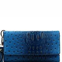 Ostrich Embossed Versatile Cellphone Holder Wristlet Wallet