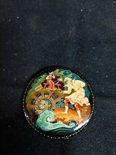 1960s Soviet Beriozka? Russian Lacquer Pin Brooch Kholui, Fairy Tale USSR signed