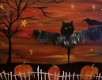 PRIMITIVE FOLK ART PAINTING HP On Pine Black Cat Crow Raven JOL Halloween