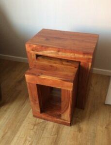 Next Mango Hardwood Side Tables Set Of 2