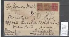 Canton bureau français - lettre pour Indore en Inde - Chine française 1910